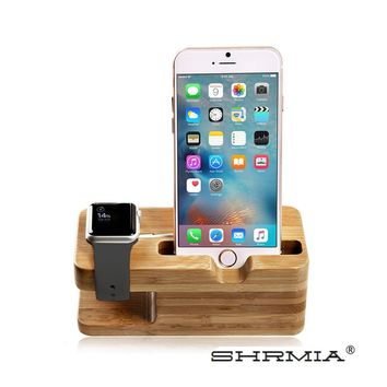 Wood Charging Stations, SHRMIA Stand Charger Dock Desk / Holder / Display / Cradle / Bracket for iPhone and Apple Watch 38mm 42mm