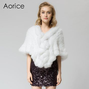 SRR006 Real Knitted rabbit  Fur Shawl poncho stole shrug cape robe tippet wrap women's winter warm coat/outwear