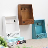 2017 Wood Storage Box Wooden Shelf Display Holder Wall Hanging Decoration Sundries Boxes House Pattern Storage Holders & Racks