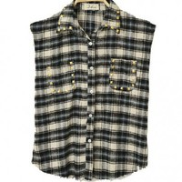 Vintage Style Checked Shirt with Metal Rivets Details