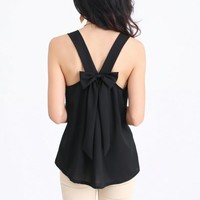 Renee Ribbon Back Top - Black