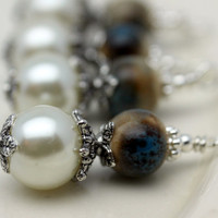Vintage Style Bead Dangle Charm Drop Set in White Pearl and Porcelain Round Beads