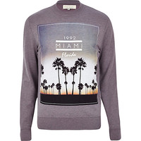 River Island MensLight purple Miami Florida print sweatshirt