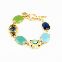 Blue Faux Gem Stone Golden Color Bracelet