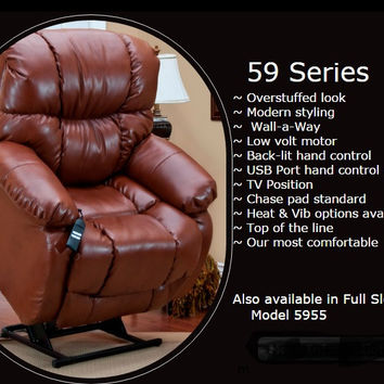 MedLift Wall Away Power Lift Chair Recliner in Bonded Leather 5900