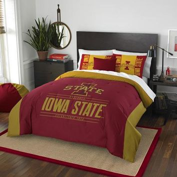 Iowa State Cyclones NCAA Bedding Modern Take Full/Queen Printed Comforter & 2 Shams Set