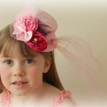Mini Top Hat in Pink for Tea Parties, Birthday, Mad Hatter Party Over The Top for Girls