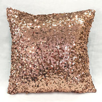 Luxury Glamour. 17inch Bronze Sequins Embellished Pillow Cover. Sparkly Brown Cushion Cover