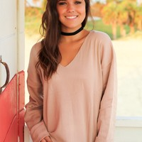 Blush V-Neck Sweater with Cuff Sleeves