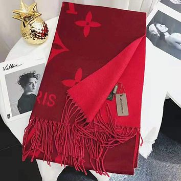 LV Louis Vuitton Classic Stylish Women Men Cashmere Cape Tassel Scarf Scarves Shawl Accessories