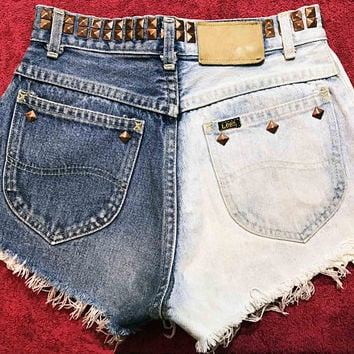 Vtg Lee high waist two tone studded denim shorts / ripped distressed raw hem / bronze pyramid studded / hipster shorts | festival fashion