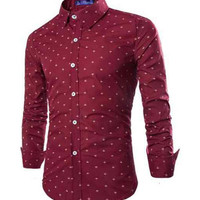 All-Over Anchor Tailored Fit Shirt Red