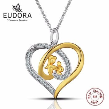 Eudora Genuine 925 Sterling Silver Mom Jewelry Crystal Heart Pendant Necklace Gold Color Mother and Child Jewelry Love Necklace