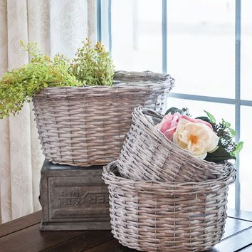 Whitewashed Gray Willow Baskets