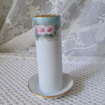 Antique Limoges Hat Pin Holder, Hand Painted Roses, Turquoise, Mint Green Decoration on White Porcelain, Early 1900s Cottage Vanity Decor