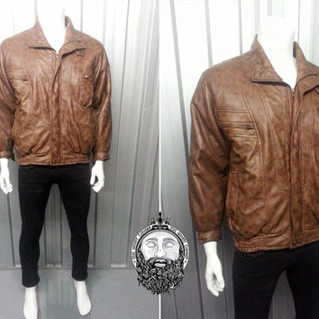 Vintage 80s Faux Leather Bomber Jacket Brown Leather Jacket Biker Jacket Rocker Jacket Pleather Jacket Vegan Leather Jacket Hipster Jacket