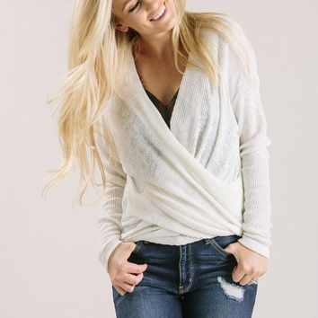Lexie Cream Drapey Sweater