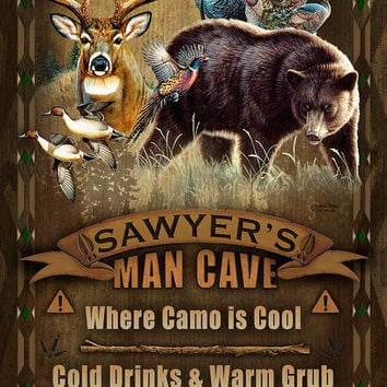 Man Cave Personalized Print / Poster / Sign / Wildlife Collage