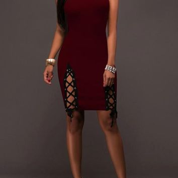 Burgundy Patchwork Bandeau Hollow-out Lace-up Boat Neck Off-Shoulder Homecoming Bodycon Mini Dress