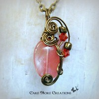 Wire Wrapped Necklace- Watermelon Tourmaline Pendant | CareMore - Jewelry on ArtFire