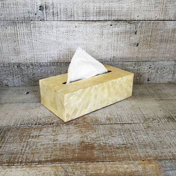 Tissue Box Cover Shell Tissue Box Holder Hollywood Regency Tissue Box Cover Seashell and Wood Tissue Box Holder Mid Century Bathroom Decor