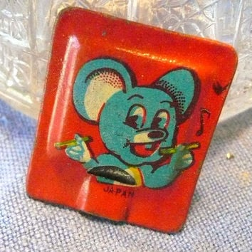 Vintage Cracker Jack Tin Lithograph Square Mouse Whistle Toy