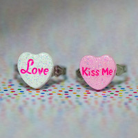 Miniature Valentines Candy Heart Love Kiss Me Glitters ring with adjustable ring band