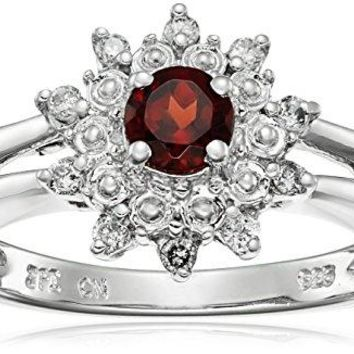 Sterling Silver Gemstone and Diamond Star Halo Ring 110 cttw IJ Color I2I3 Clarity