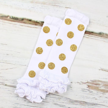 Gold Polka Dot Leg Warmers | Sparkly Gold Dot Leg Warmers on White Leg Warmers with Ruffles