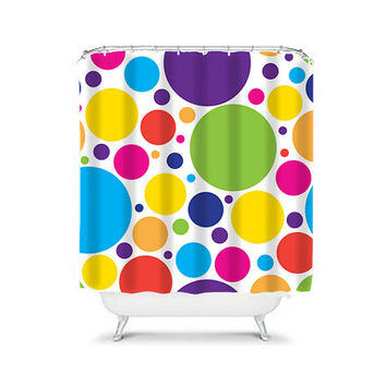 Shower Curtain Polka Dot Circle Colorful Turquoise Pink Purple Green Geometric Pattern Bathroom Bath Polyester Made in the USA