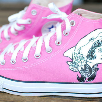 Hand Painted Shark Face Gang Converse Chuck Taylor All Star Hi Tops
