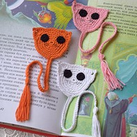 Crochet bookmark Cat crocheted bookmarks Kids animal bookmark Back to school Book lover gift Kids bookmark planner reading accessories Reader Gift cute bookmark funny bookmark