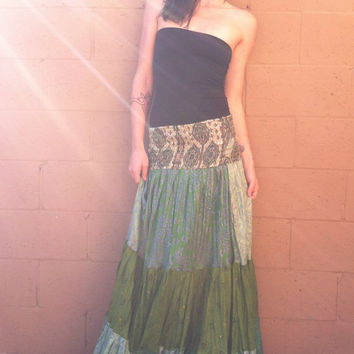 Sweep. vintage silk bohemian maxi skirt // spirit tribe, summer threads, festival, indian silk, long skirt, boho