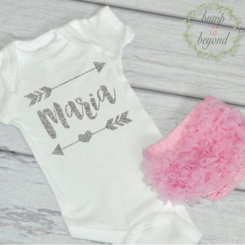 Baby Girl Take Home Outfit Newborn Baby Girl Personalized Bodysuit with Pink Bloomers Girl Baby Clothes