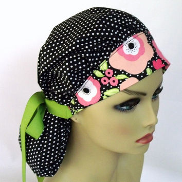 Women's Bouffant Scrub Hat or Cap  Polka Dot with Poppies