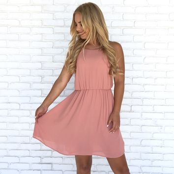 French Kiss Skater Dress in Rose