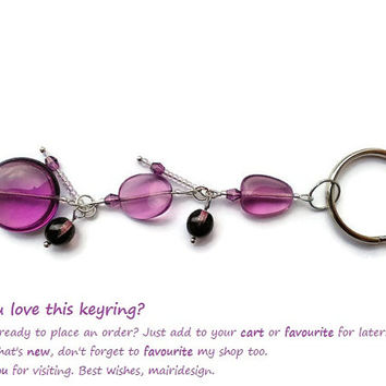 Purple bag charm or purse jewel, Perfect gift for women who accessorize everything, Can be attached to ring bound planner diary or notebook