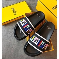 FENDI New Trending Women Stylish FF Letter Colorful Embroidery Canvas Sandals Slipper Shoes I/A