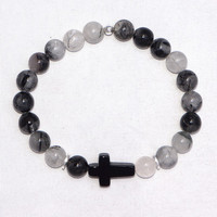 Tiffany Jazelle — Rutilated Quartz with Onyx Side Cross
