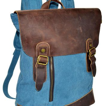 The Scarborough Fair - Genuine Leather Flap and Bottom Backpack with Two Front Buckles