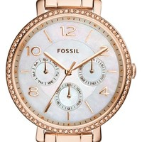 Women's Fossil 'Jacqueline' Crystal Bezel Multifunction Bracelet Watch, 36mm