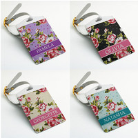 Monogrammed Luggage Tag, Custom Name Bag Tag, Travel Tag, Suitcase Tag, Rose floral vintage flower design (E06)