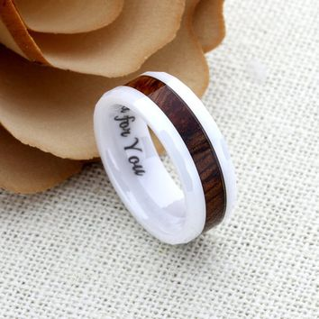 Ceramic Promise Ring Wedding Band Ring Men Women Unisex Personalized Custom Engraving 8mm Hawaiian Koa Wood White Ring - ZDPCR449-8MM