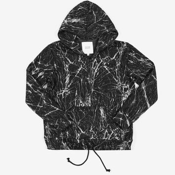 Cracked Marble Half Zip Hoodie in Black