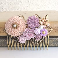 Pink Wedding Hair Comb Mauve Soft Lilac Purple Bridal Comb Flower Head Piece Gold Leaf Floral Comb Romantic Whimsical Nymph Vintage Style PM