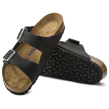 Birkenstock Arizona Soft Footbed Oiled Leather Black Sandals