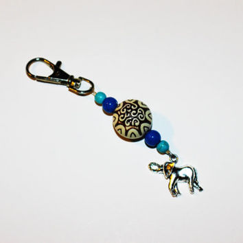 Beaded Keychain with Blue Accents and Silver Elephant Charm