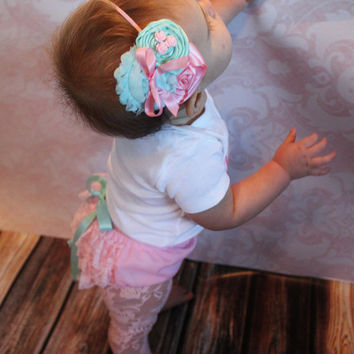 The Emma Pink Lace Diaper Cover, Headband, Leggings- Aqua, bow, Flowers, bloomers, newborn, baby girl, toddler, birthday, cake smash