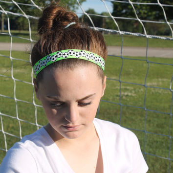 Soccer Headband – Soccer Ball Lime Green - No Slip Stretchy Sports Headband – Ribbon & Elastic Soccer Hair Accessory – Athletic Head
