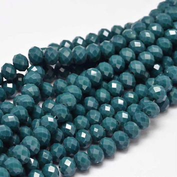 17 Inch Strand - 8x6mm Faceted Marine Blue Glass Rondelle Beads - Abacus Beads - Glass Beads - Rondelle - Jewelry Supplies